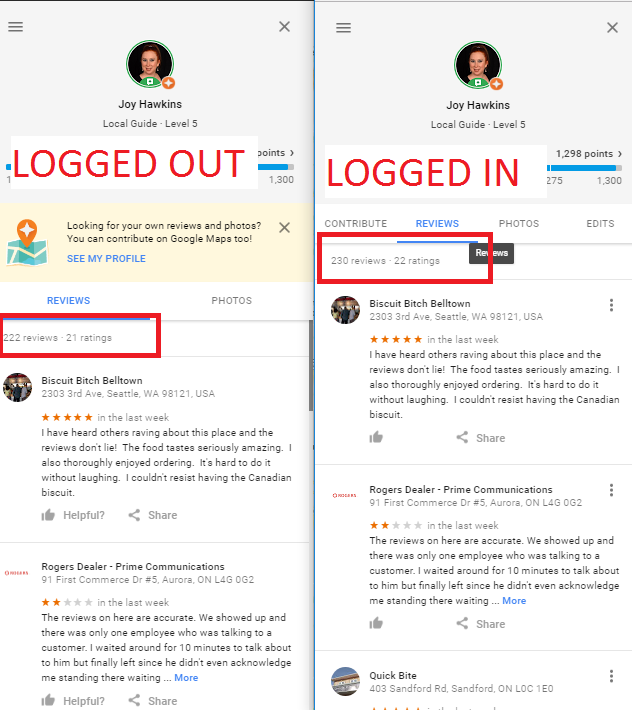 537f8c75319a1 To figure out which specific reviews got filtered, look for reviews on your  profile (while logged in) that are missing a share icon or a like icon. If  these ...